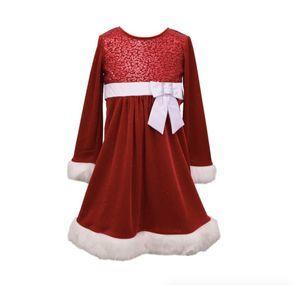 Bonnie Jean Red Velvet  Long Sleeve Dress | 12